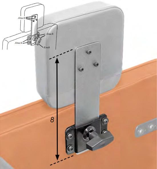 vertical wheelchair headrest hardware