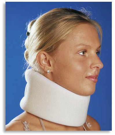 cervical neck collar in use