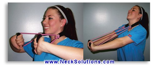 neck curve restoration using the exerciser
