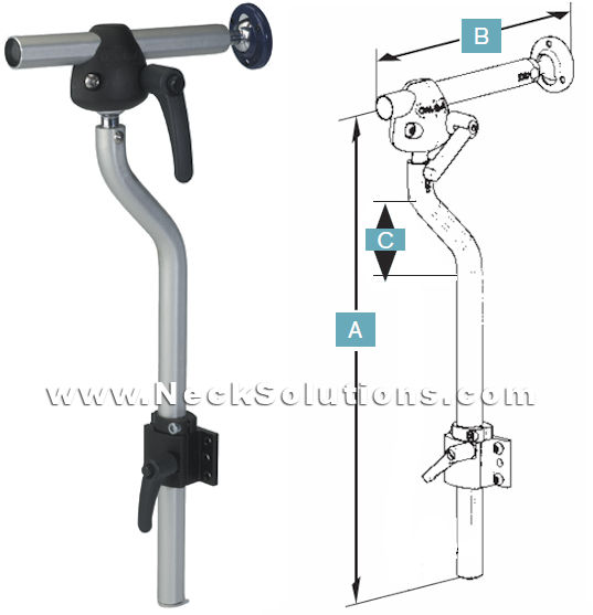 multi-axis offset wheelchair headrest mount