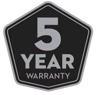 5 year manufacturer warranty