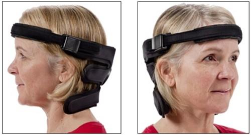wheelchair headrest with headband