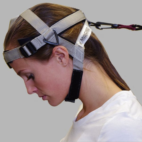 neck flexion with head harness