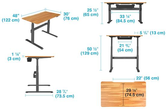 variable height desk details